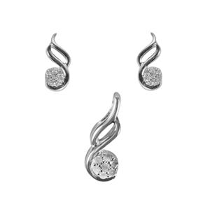 Diamond Set of Earrings & Pendant in Sterling Silver 0.12ct