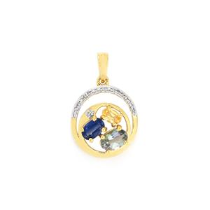 Harlequin Pendant with Diamond in 10K Gold 1.66cts