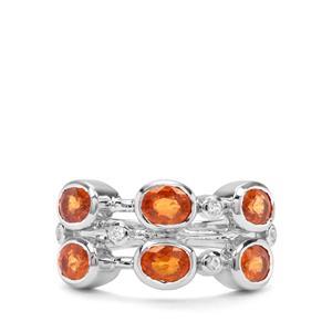 Mandarin Garnet & White Zircon Sterling Silver Ring ATGW 3.31cts
