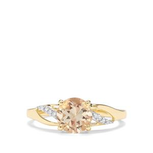 Serenite & Diamond 9K Gold Ring ATGW 1.22cts