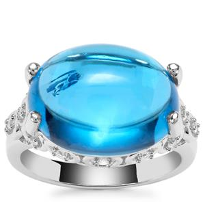Swiss Blue Topaz Ring with White Zircon in Sterling Silver 13.94cts