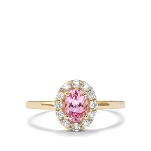 Imperial Pink Topaz & White Zircon 9K Gold Ring ATGW 1.06cts