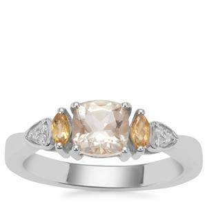 Serenite, Diamantina Citrine Ring with White Zircon in Sterling Silver 1.09cts