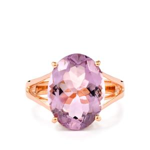Rose De France Amethyst Ring in Rose Gold Plated Sterling Silver 6cts