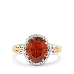 Zanzibar Sunburst Zircon & Diamond 18K Gold Tomas Rae Ring MTGW 4.70cts