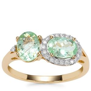 Paraiba Tourmaline Ring with Diamond in 18k Gold 1.86cts