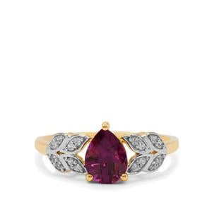 Comeria Garnet Ring with White Zircon in 9K Gold 1.40cts