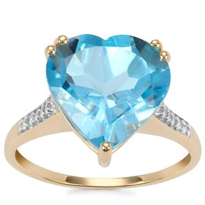 Swiss Blue Topaz Ring with White Zircon in 10K Gold 7.16cts