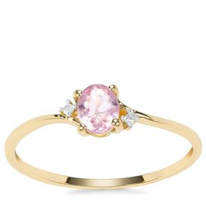 Pink Spinel Ring with Diamond in 9k Gold 0.34ct
