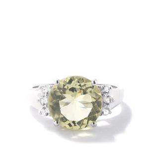 Citron Feldspar Ring with White Topaz in Sterling Silver 4.82cts