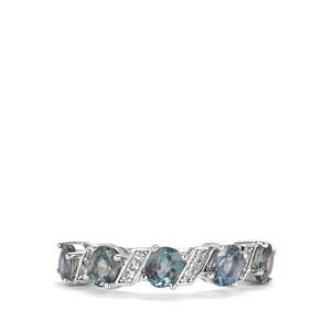 Tunduru Colour Change Sapphire Ring with White Topaz in Sterling Silver 2.66cts