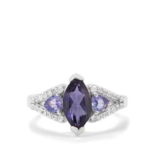 Bengal Iolite, Tanzanite & White Zircon Sterling Silver Ring ATGW 2.11cts