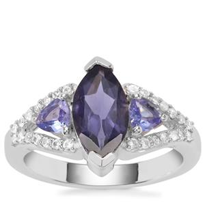 Bengal Iolite, Tanzanite Ring with White Zircon in Sterling Silver 2.11cts