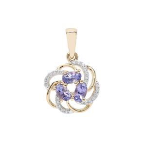 AA Tanzanite Pendant with White Zircon in 9K Gold 1cts