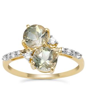 Peacock Parti Oregon Sunstone Ring with White Zircon in 9K Gold 1.76cts