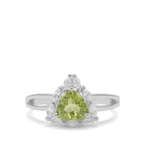 Red Dragon Peridot & White Zircon Sterling Silver Ring ATGW 1.81cts