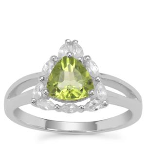 Red Dragon Peridot Ring with White Zircon in Sterling Silver 1.81cts