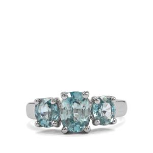 Ratanakiri Blue Zircon Ring in Sterling Silver 3.43cts