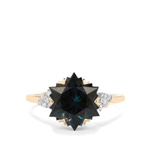 Wobito Snowflake Cut Marambaia London Blue Topaz Ring with Diamond in 10K Gold 5.29cts