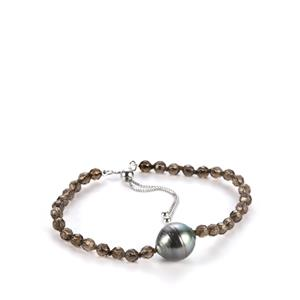 Tahitian Cultured Pearl Bracelet with Smokey Quartz in Sterling Silver (11mm)