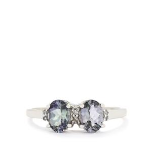 Bi-Colour Tanzanite & Diamond 10K White Gold Ring ATGW 1.29cts