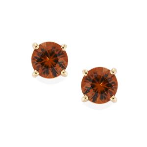 Ratanakiri Cinnamon Zircon Earrings  in 10k Gold 1.38cts