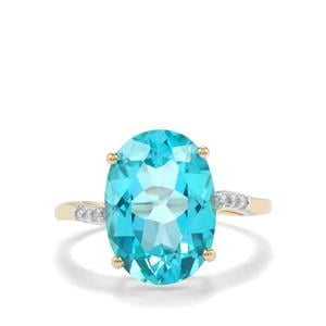 Batalha Topaz Ring with Diamond in 9K Gold 7.16cts