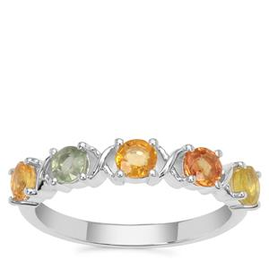 Songea Rainbow Sapphire Ring in Sterling Silver 1.20cts