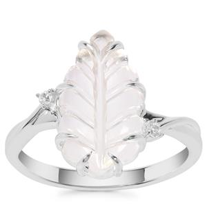 Crystal Quartz Ring with White Zircon in Sterling Silver 3.78cts