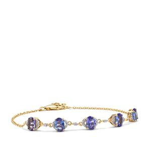 AA Tanzanite Bracelet with Diamond in 18K Gold 3.10cts