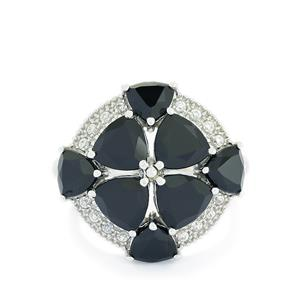 Black Spinel & White Zircon Sterling Silver Ring ATGW 7.06cts