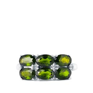 Chrome Diopside & White Topaz Sterling Silver Ring  ATGW 2.79cts