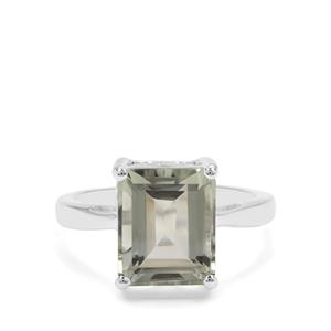 Montezuma Prasiolite Ring in Sterling Silver 4.46cts