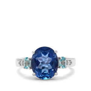 Colour Change Fluorite, Ratanakiri Blue & White Zircon Sterling Silver Ring ATGW 4.85cts