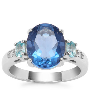 Colour Change Fluorite, Ratanakiri Blue Zircon Ring with White Zircon in Sterling Silver 4.85cts