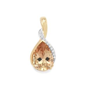 Oregon Sunstone Pendant with Diamond in 18K Gold 4.44cts