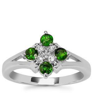 Chrome Diopside Ring with White Topaz in Sterling Silver 0.58cts