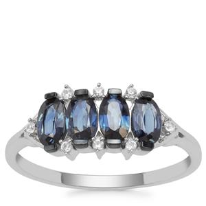 Australian Blue Sapphire Ring with White Zircon in 9K White Gold 1.20cts
