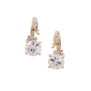 Singida Tanzanian Zircon Earrings with White Zircon in 9K Gold 1.63cts