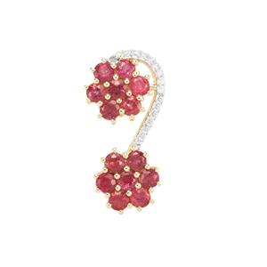 Cruzeiro Rubellite Pendant with Diamond in 10K Gold 0.94ct