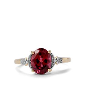 Mahenge Garnet Ring with Diamond in 9K Gold 2.43cts