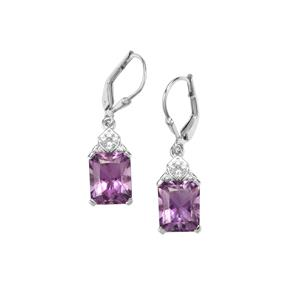 Bahia Amethyst Earrrings with White Topaz in Sterling Silver 6.44cts