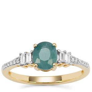 Grandidierite Ring with Diamond in 18K Gold 1.04cts