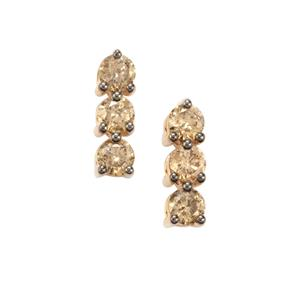 1ct Champagne Diamond 9K Gold Tomas Rae Earrings
