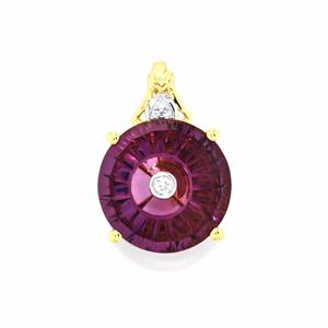 Lehrer TorusRing Ametista Amethyst Pendant with Diamond in 10K Gold 4.15cts