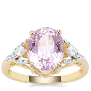 Nuristan Kunzite Ring with White Zircon in 9K Gold 3.87cts