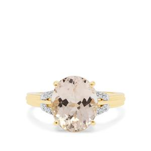 Champagne Danburite Ring with White Zircon in 9K Gold 3.65cts