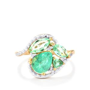 Paraiba Tourmaline Ring with White Diamond in 9K Gold 1.90cts