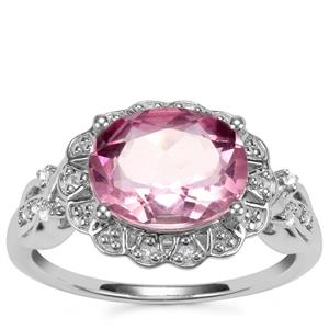 Natural Pink Fluorite Ring with White Topaz in Sterling Silver 3.30cts