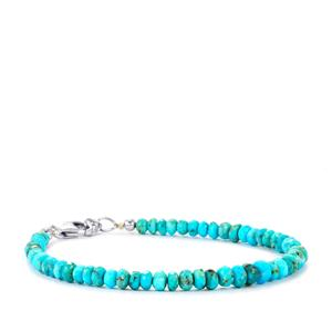 Turquoise Graduated Bead Bracelet in Sterling Silver 20cts